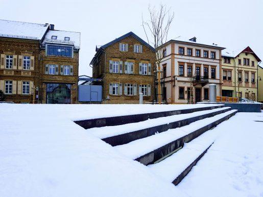 Neuer Marktplatz in Langenlonsheim bei Schnee