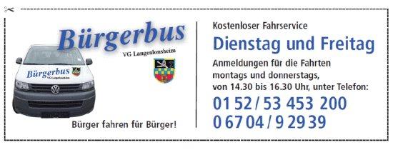Logo mit Fahrzeiten des Bürgerbusses