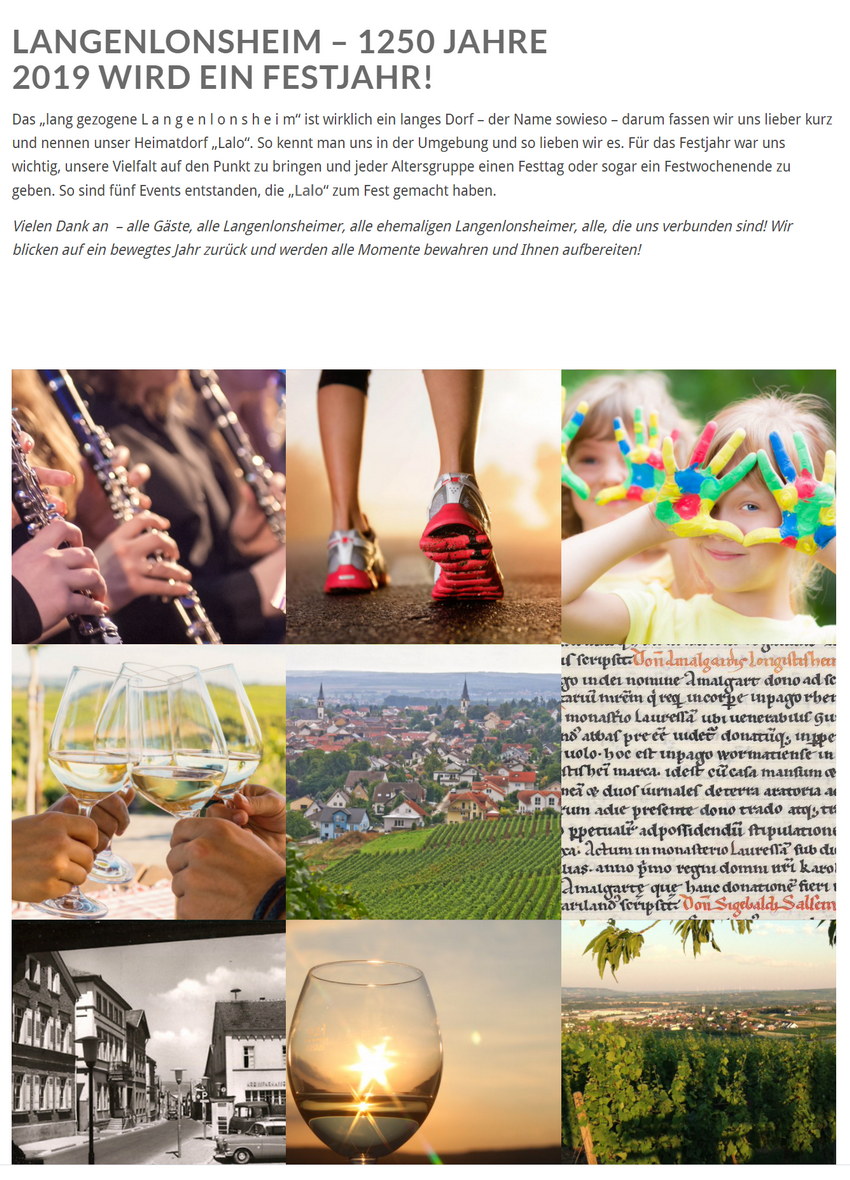 Bildschirmkopie der Startseite von www.langenlonsheim2019.de
